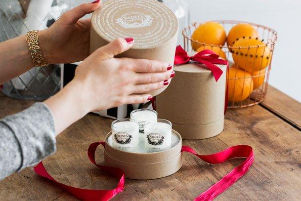 Klinta cadeaubox drie kerst geurkaarsen 6