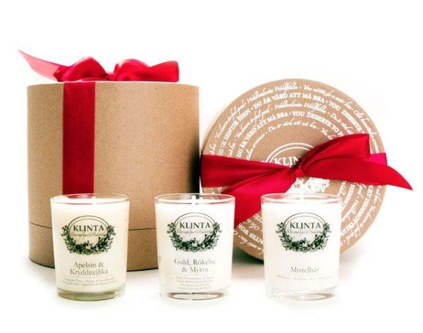 Klinta cadeaubox drie kerst geurkaarsen