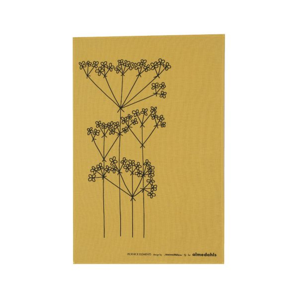 almedahls-tea towel-ocher-picnic flowers