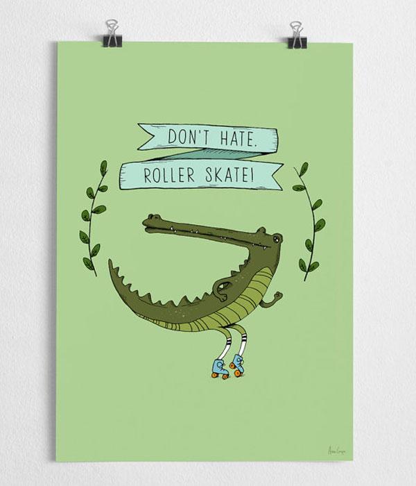 Grafische print Krokodil