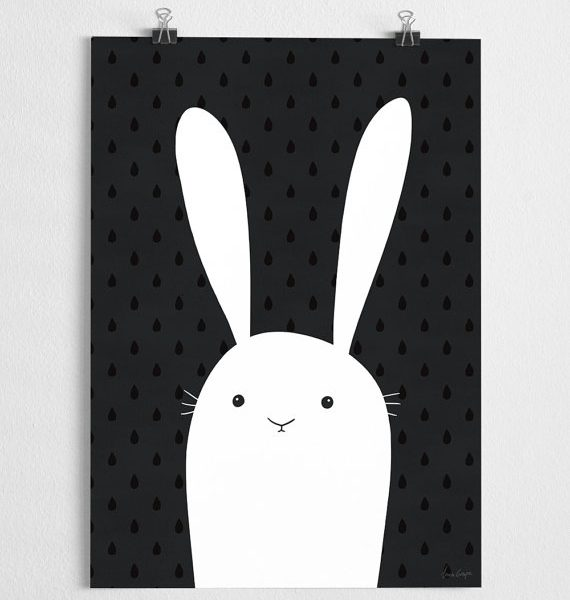 Poster Rabbit Black White