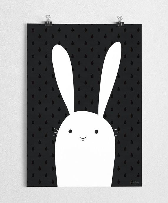 Poster Rabbit Black White