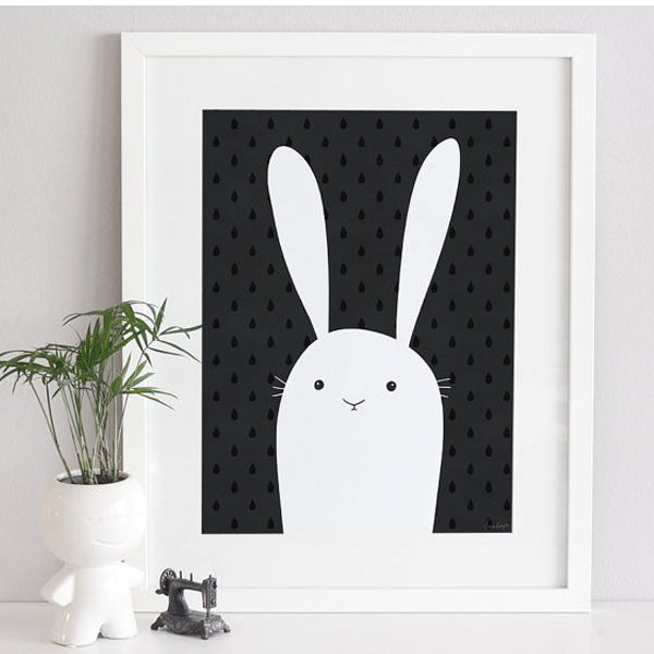 Poster Rabbit Black White 3