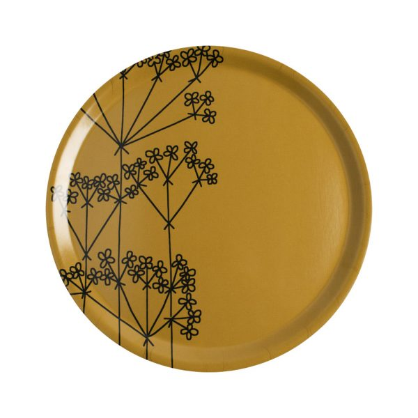Almedahls tray Picnic Elements ocher with flower pattern