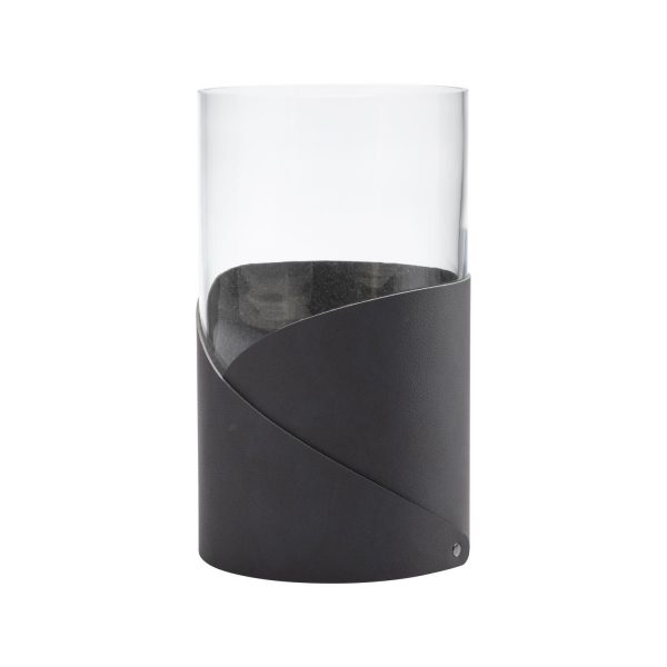 Lind DNA Vase with folded leather large black