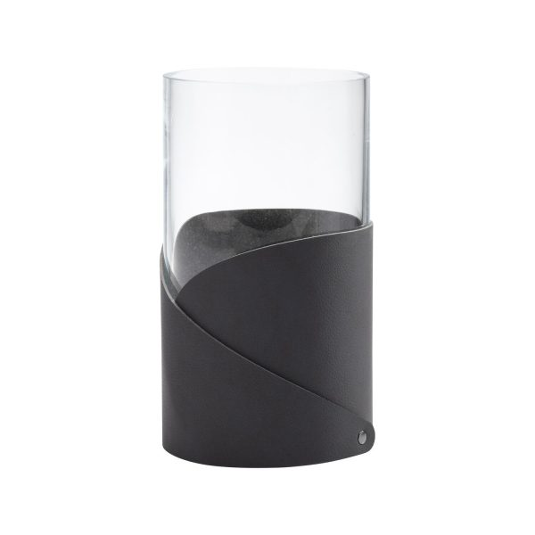 Lind DNA Vase with folded leather medium black