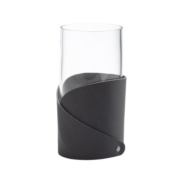 Lind DNA Vase with folded leather small black