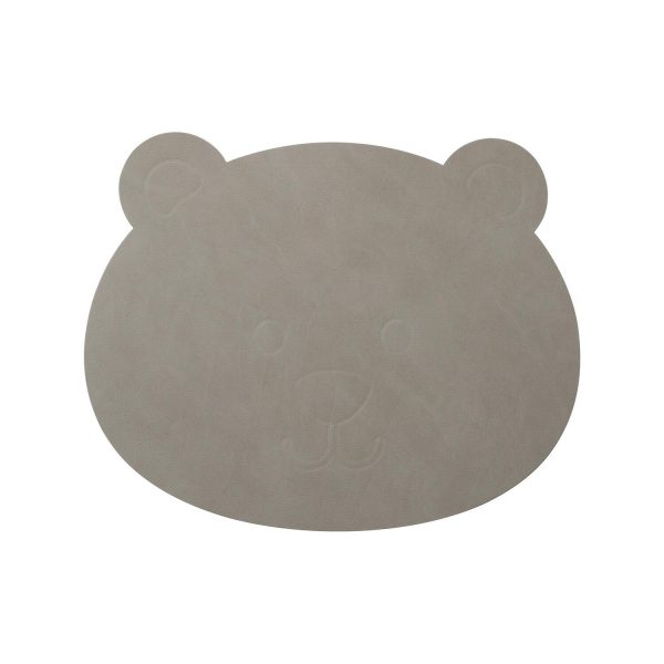 Lind DNA leather children's placemat bear in light gray