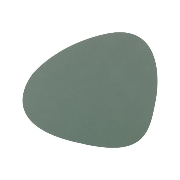 Lind DNA leather placemat Curve in pastel green