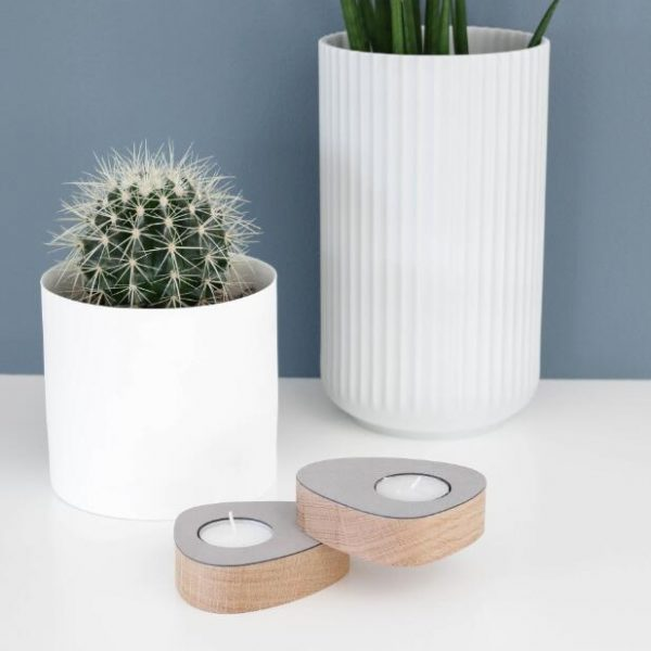 Lind DNA set of two magnetic oak tea light holders with light gray leather