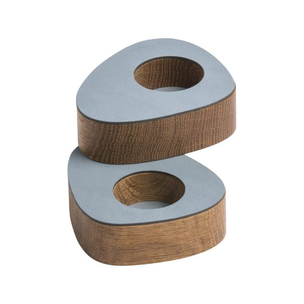 Lind DNA set of two magnetic oak tea light holders with light blue leather