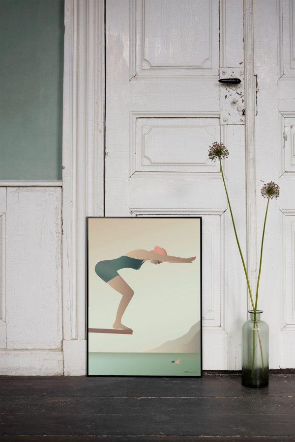 Vissevasse Poster The Swimmer Deens design